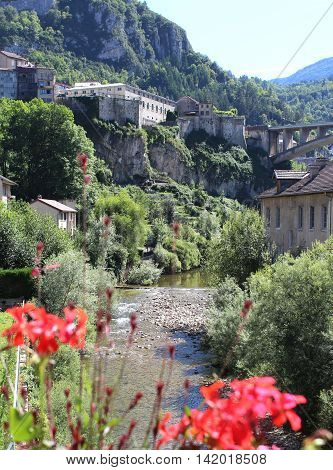 View of the picturesque town of Sainte Claude in the Haut Jura region of France.