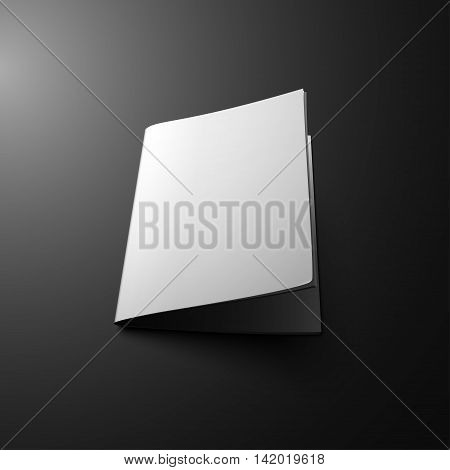 Blank Cover Of Magazine Book Booklet Brochure Leaflet. Illustration Isolated On Dark Background. Mock Up Template Ready For Your Design. Vector EPS10.