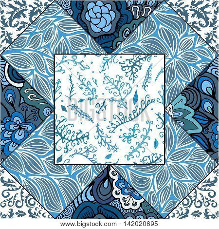 stock vector floral seamless doodle pattern. decorative element.Blue patchwork design
