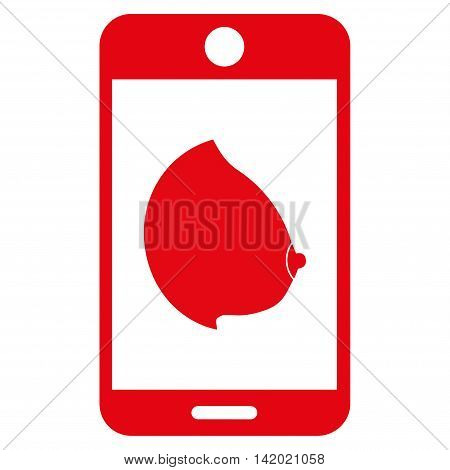Mobile Erotic Tit vector icon. Style is flat symbol, red color, rounded angles, white background.