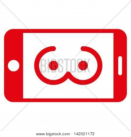 Mobile Female Erotics vector icon. Style is flat symbol, red color, rounded angles, white background.