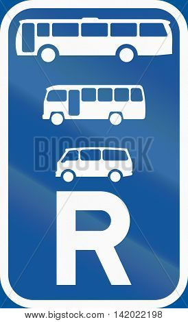 Road Sign Used In The African Country Of Botswana - Reservation For Buses, Midi-buses And Mini-buses