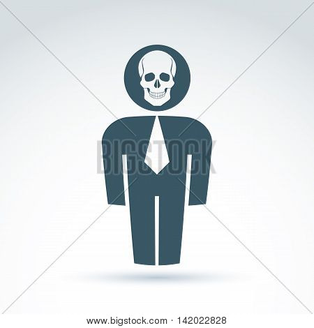 Silhouette of person standing in front, vector illustration of a human being. Vector skull symbol scary cranium icon. Halloween concept.