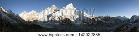 Evening panoramic view of Mount Everest from Kala Patthar - Way to base camp Sagarmatha national park Khumbu valley Nepal