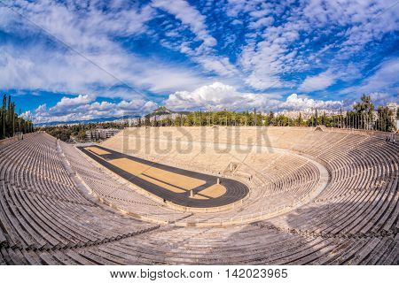 Famous Panathenaic stadium against blue sky in Athens Greece