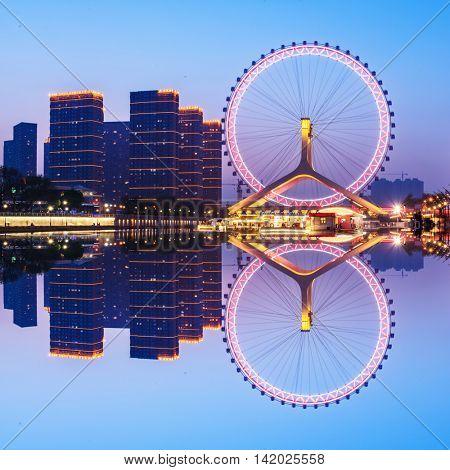 View to Eye of Tianjin at night,tianjin,china.