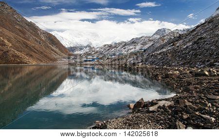 View of mount Cho Oyu mirroring in Gokyo lake or Dudh Pokhari three passes trek and Cho Oyu base camp trek Sagarmatha national park Khumbu valley Nepal