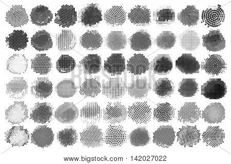 Abstract Halftone Backgrounds Vector Set of Isolated Modern Design Element. Set of Black and white Halftone, vector illustration grunge dots