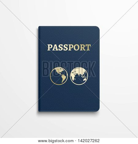 Passport with gold globe earth emblem on cover. Passport document for identification, isolated passport with sign earth. Vector illustration