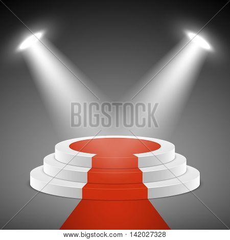 Spotlights illuminate stage pedestal with red carpet. Pedestal for award ceremony. Illustration empty pedestal stage vector