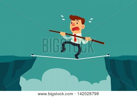 businessman walk on rope across cliff gap holding balancing stick. Risk management concept.