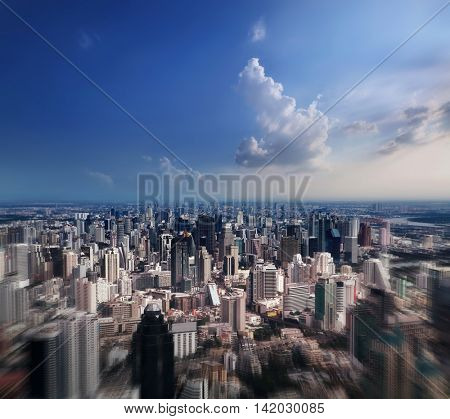 Aerial view of streets and buildings, Bangkok City. Thailand.