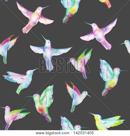 Seamless pattern of colored colibri, hand painted in a watercolor on a dark background