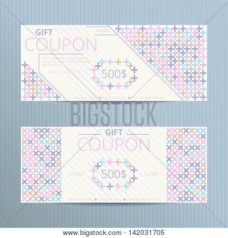 Vector illustration of gift voucher template collection. Colorful doscount coupons with cross-stiches.
