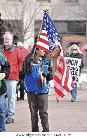 Native American Protester with Flag