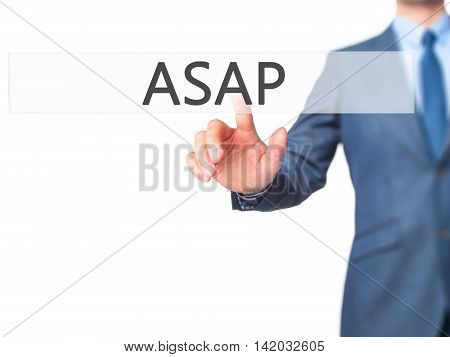 Asap -  Businessman Press On Digital Screen.