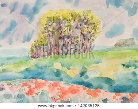Watercolor spring bright color trees clouds and field. A group of trees with light green and yellow green krone. Green and coral field is in the foreground.