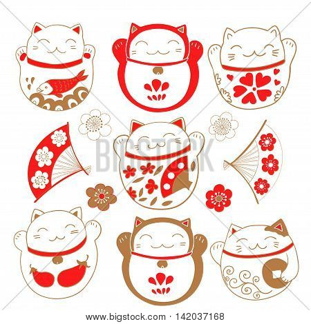 Cute set with cats Maneki Neko, bringing luck and prosperity. Vector illustration.