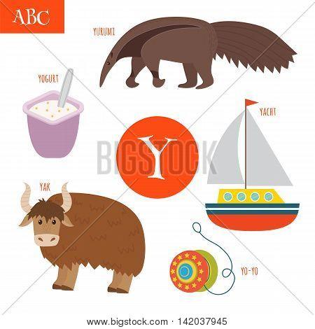 Letter Y. Cartoon Alphabet For Children. Yo-yo, Yak, Yacht, Yogurt, Yurumi