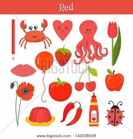 Red. Learn The Color. Education Set. Illustration Of Primary Colors