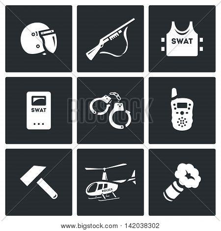 Helmet, Shotgun, Body Armor, Shield, Handcuffs, Radio, Sledgehammer, Helicopter, Smoke Grenade