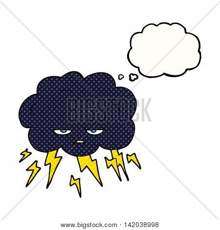 freehand drawn thought bubble cartoon thundercloud
