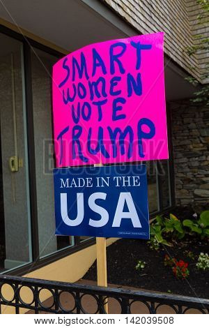 Lancaster PA - August 9 2016: Signs at a rally during GOP Vice Presidential candidate Gov. Mike Pence appearance in Lancaster County.