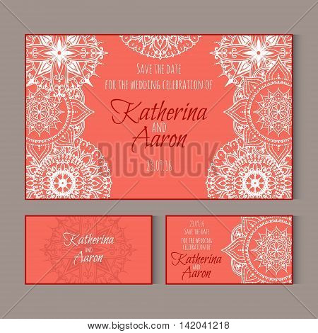Set of invitation wedding cards. Circular patterns decor on cards. Vector Mandala.