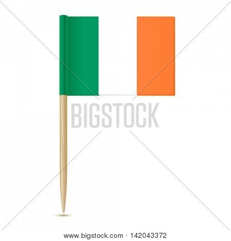 Ireland flag toothpick on white background 10eps