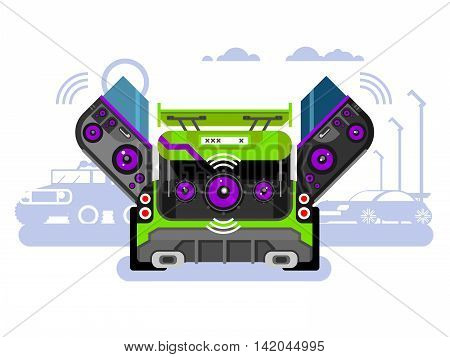 Car audio system. Music automobile, sound technology, stereo power speaker, flat vector illustration