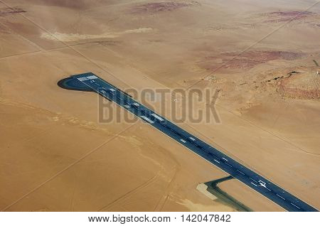 Aereal view of an airport in the desert in Namibia Africa
