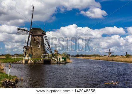 Kinderdijk windmills closed to Roterdam in Netherlands