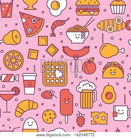 Fun vector seamless pattern with restaurant and fast food like coffee pizza wafer burger ice cream and chinese plates. Pink red and yellow colors. Smiling faces iconic style line art.
