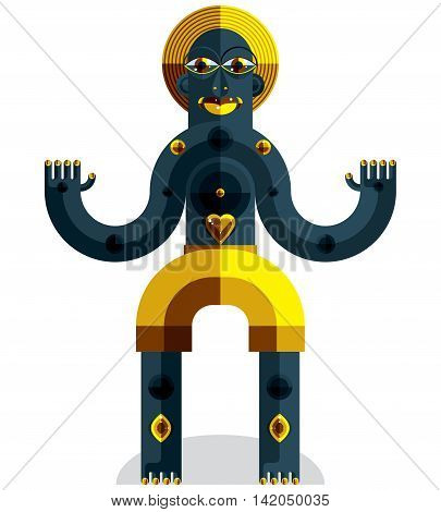 Meditation theme vector illustration drawing of a creepy creature made in modernistic style.