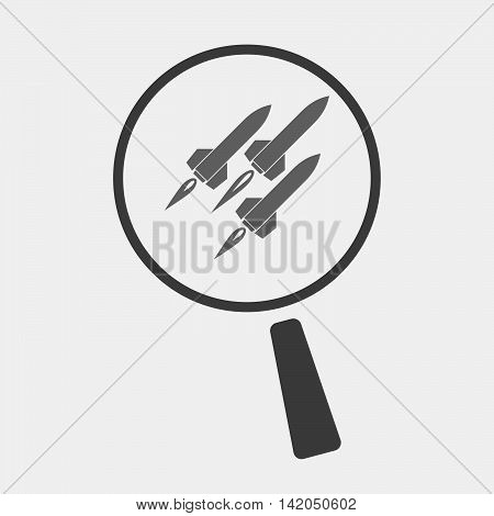 Isolated Magnifier Icon With Missiles