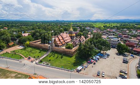 Aerial view Phra That Lampang Luang is a Lanna-style Buddhist templeLampang Province Thailand.