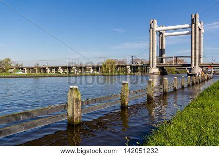 Rail lifting bridge in Netherlands closed to Gouda city