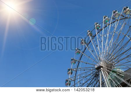 NAGOYA JAPAN - MAY 04, 2016:Sunshine Sakae Shopping Centre. Sunshine Sakae is located in Sakae and famous for its Ferris wheel attached to the building. Sunshine Sakae building in downtown Nagoya Japan on 04 MAY 2016.
