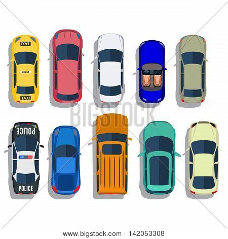 Cars top view vector flat city vehicle transport icons set. Automobile car for transportation, auto car icon illustration. Vector illustration in flat design