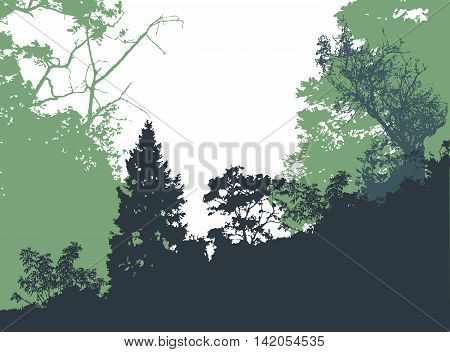Panoramic forest landscape with silhouettes of trees and plants. Green, blue and black landscape with trees