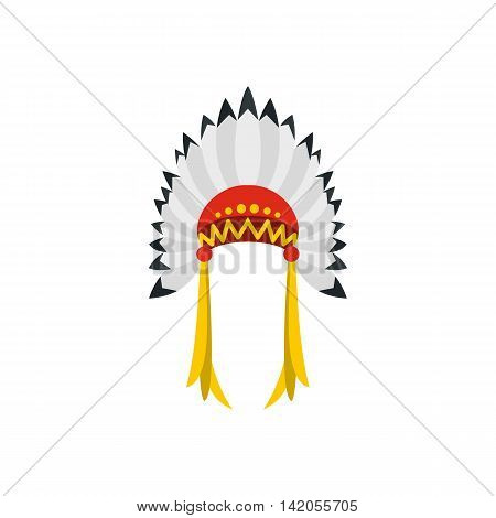 Native American indian headdress with feathers icon in flat style on a white background