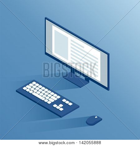 isometric computer peripherals: monitor keyboard and computer mouse isometric workplace