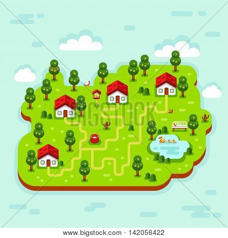 Vector flat style isometric 3d stock illustration of cartoon summer village, trees, well, footpath, pond with ducks, clouds, bench, birds feeders. Rural landscape.