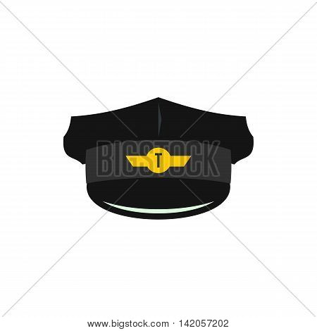 Cap of taxi driver with cockade icon in flat style on a white background
