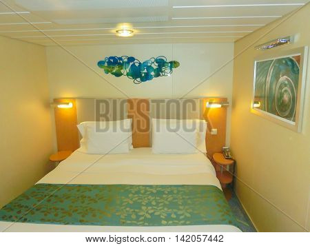 Barselona, Spaine - September 06, 2015: Royal Caribbean, Allure of the Seas sailing from Barselona on September 6 2015. The second largest passenger ship constructed behind sister ship Oasis of the Seas. The interior view the inside cabin of the ship