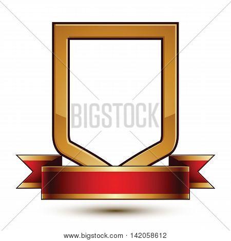 Heraldic vector template with golden outline 3d royal conceptual escutcheon with decorative curvy ribbon.