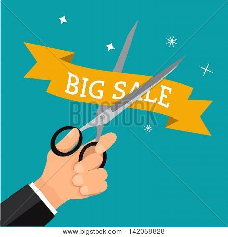 Hand business cutting price with scissor. Tag promotion concept discount on sale.Vector business cartoon.