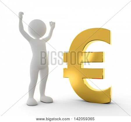 Toon happy man raising hand for a win next to gold EURO symbol. Win, winner concept. White background. 3D illustration