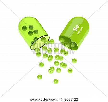 3D Rendering Of Selenium Capsule With Granules Isolated Over White