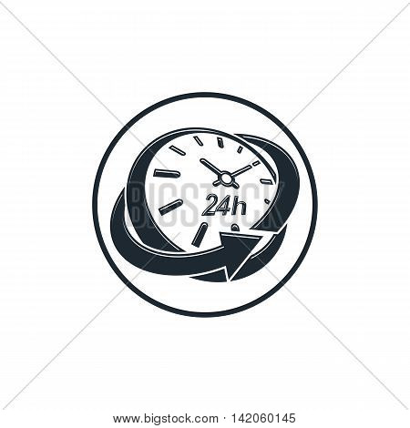 24 hours-a-day concept clock face with a dial and an arrow around.